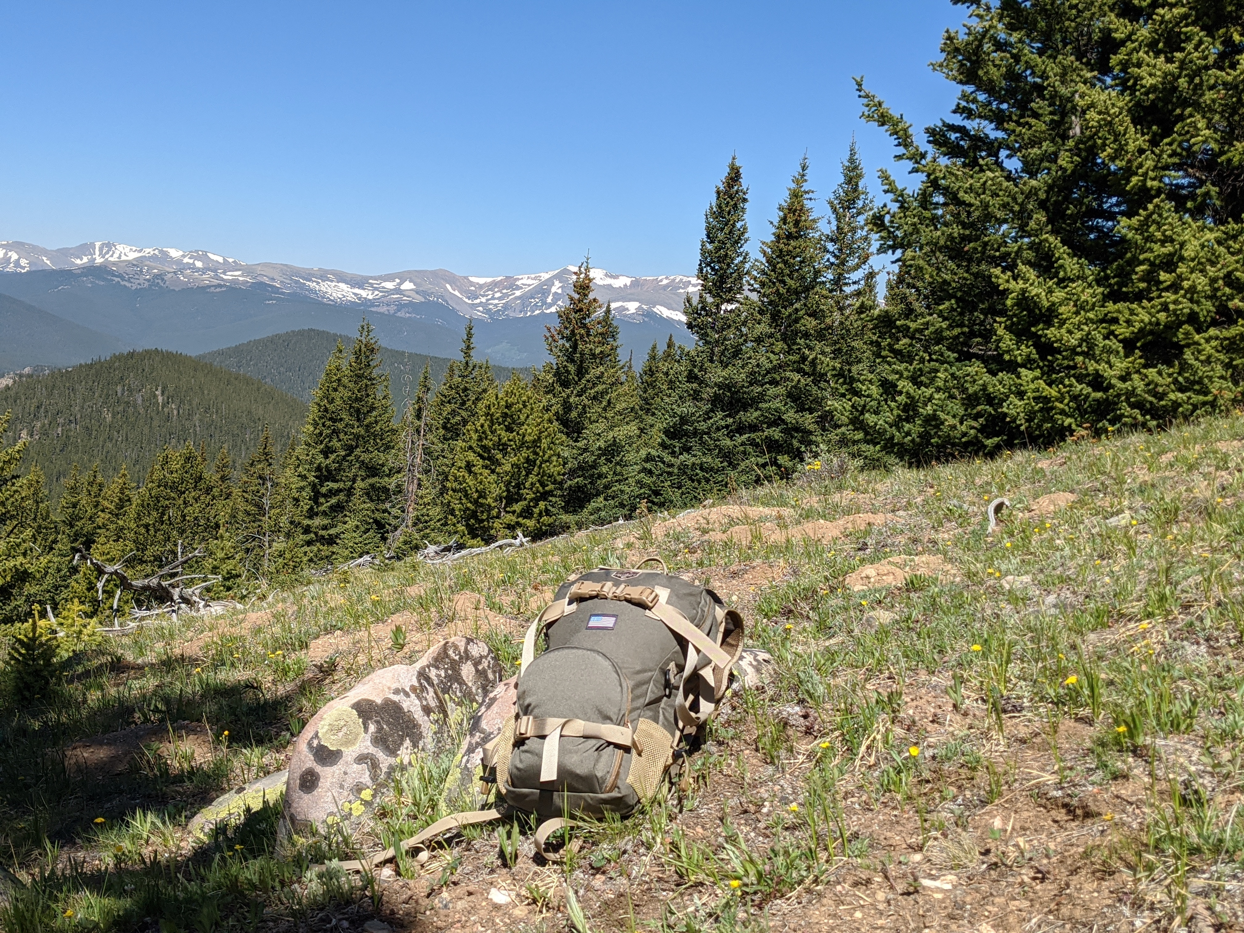 The Alaska Guide Creations Scout backpack on a trip into the Mount Evans Wilderness Area in Colorado.