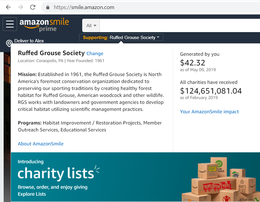Amazon Smile allows you to donate to most any charity, we choose conservation organizations.