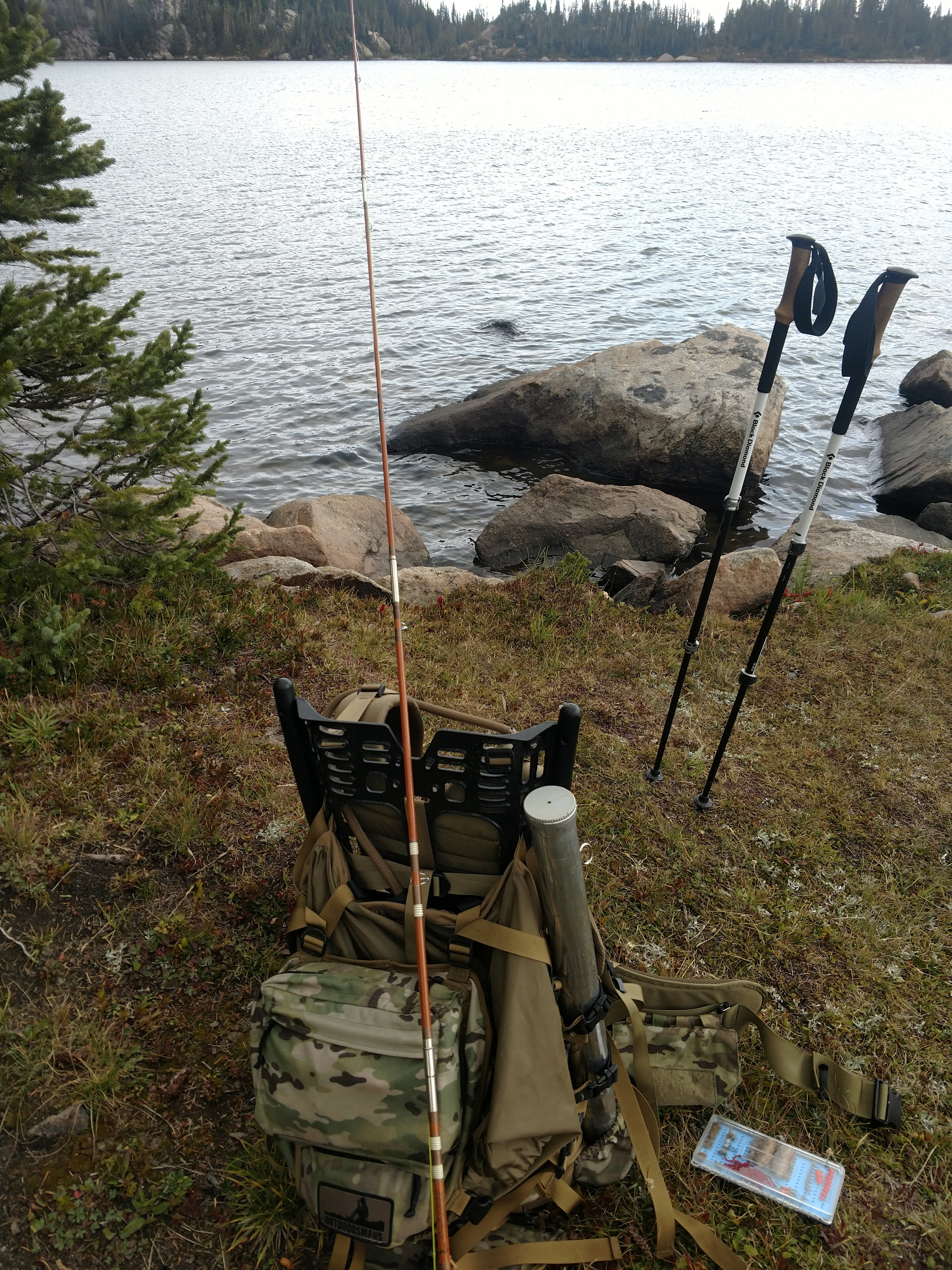 Outdoorsmans pack frame with a trail rod.
