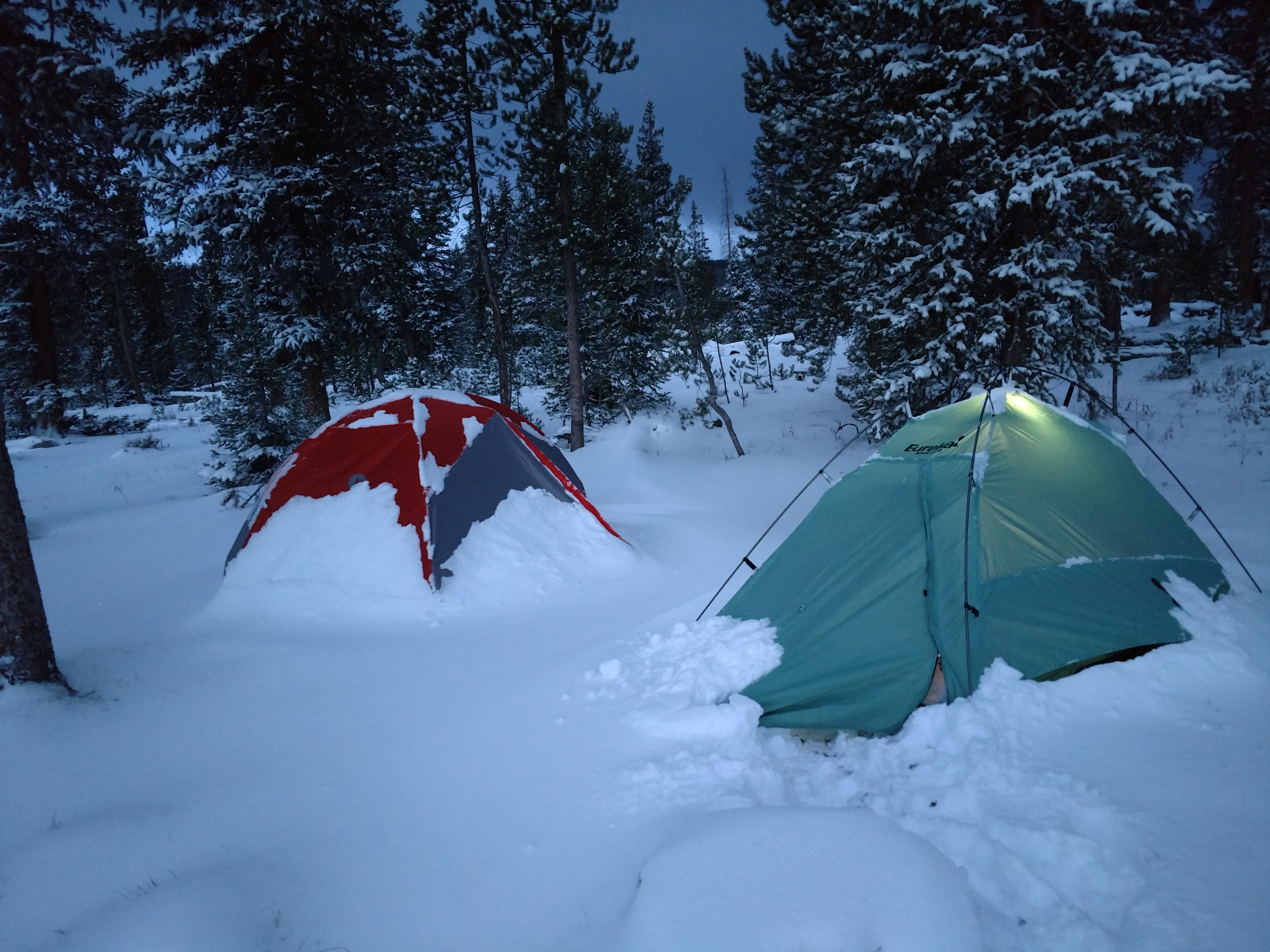 A little Colorado backcountry camping during second rifle!  We were hit by a snowstorm and had to move out.