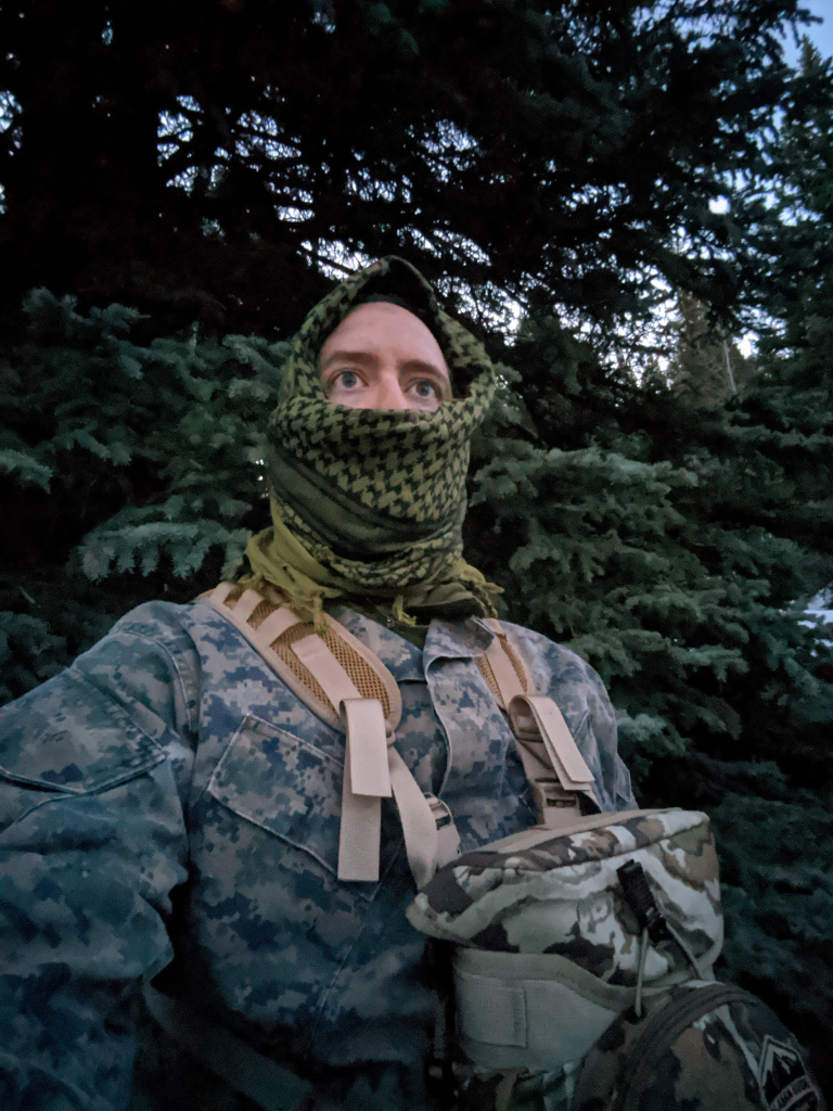 Using a shemagh in a facemask configuration allows it to be used for turkey hunting to augment your camouflage and break up your outline.