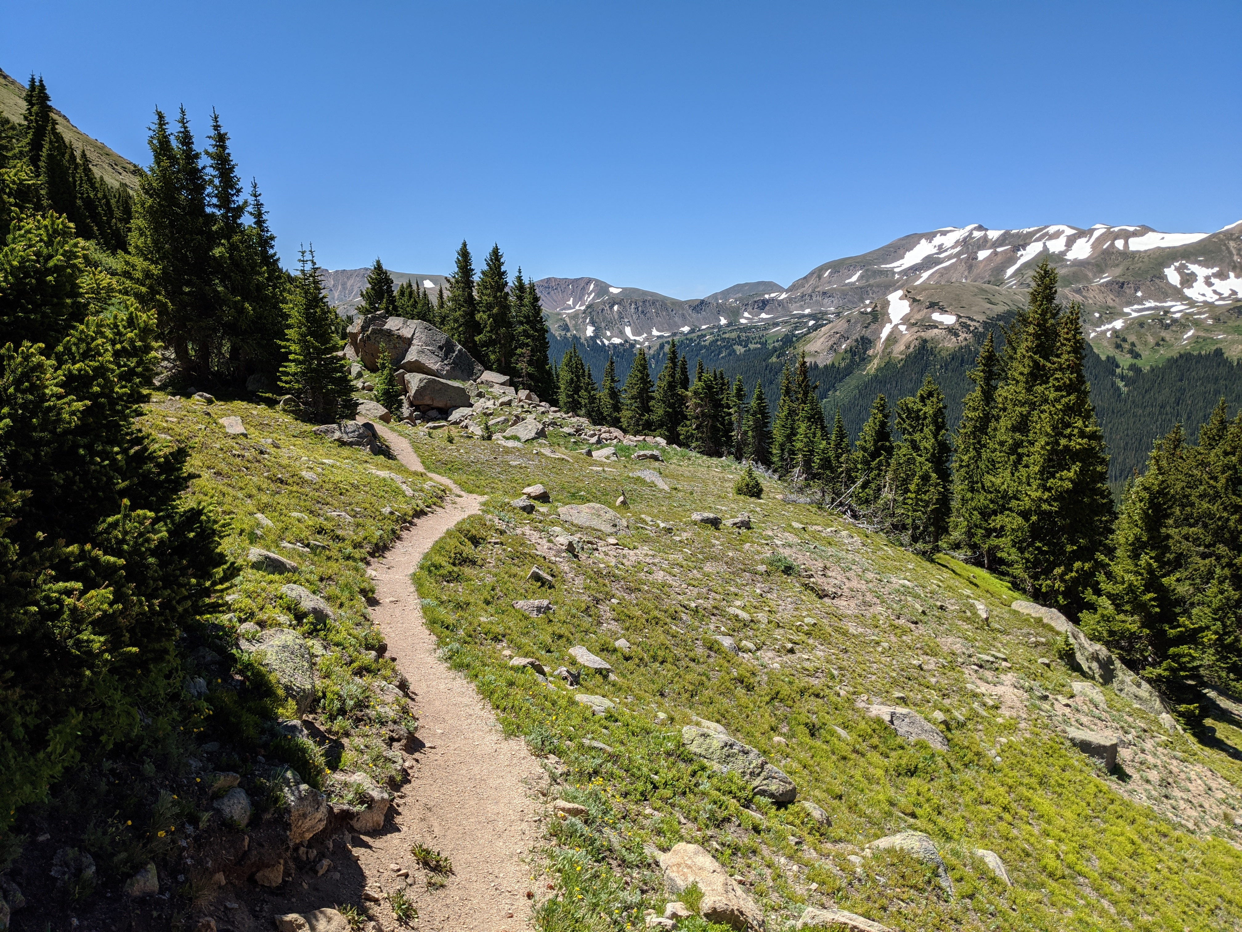 The descent along the Continental Divide Trail from Vasquez Peak.
