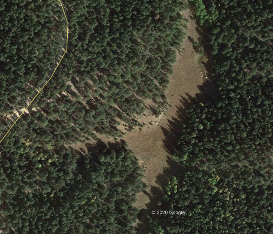 A field seen with Google Earth of unknown acrage.