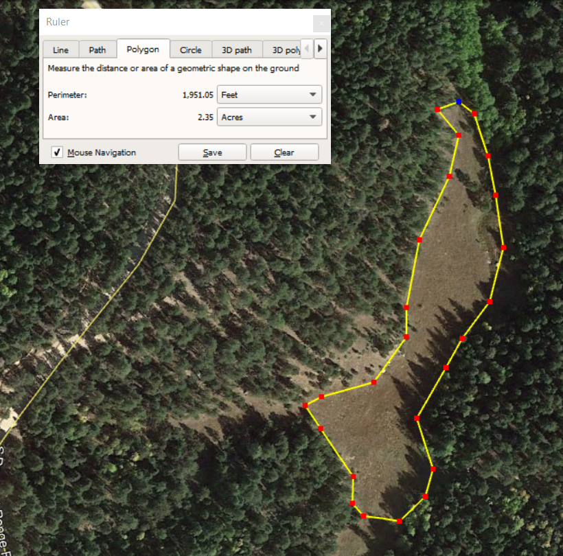 Using Google Earth to measure acrage of a field.