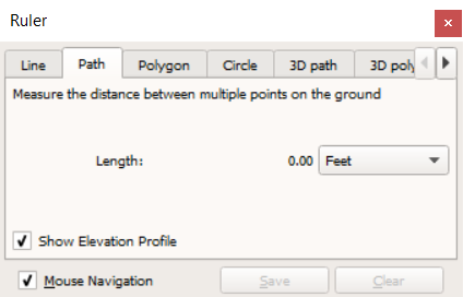 Using the ruler in Google Earth to generate an elevation gain loss curve.