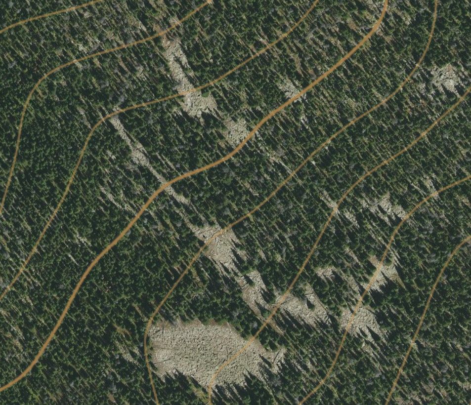 Ground truth of a series of rock fields, satellite imagery can be deceiving.