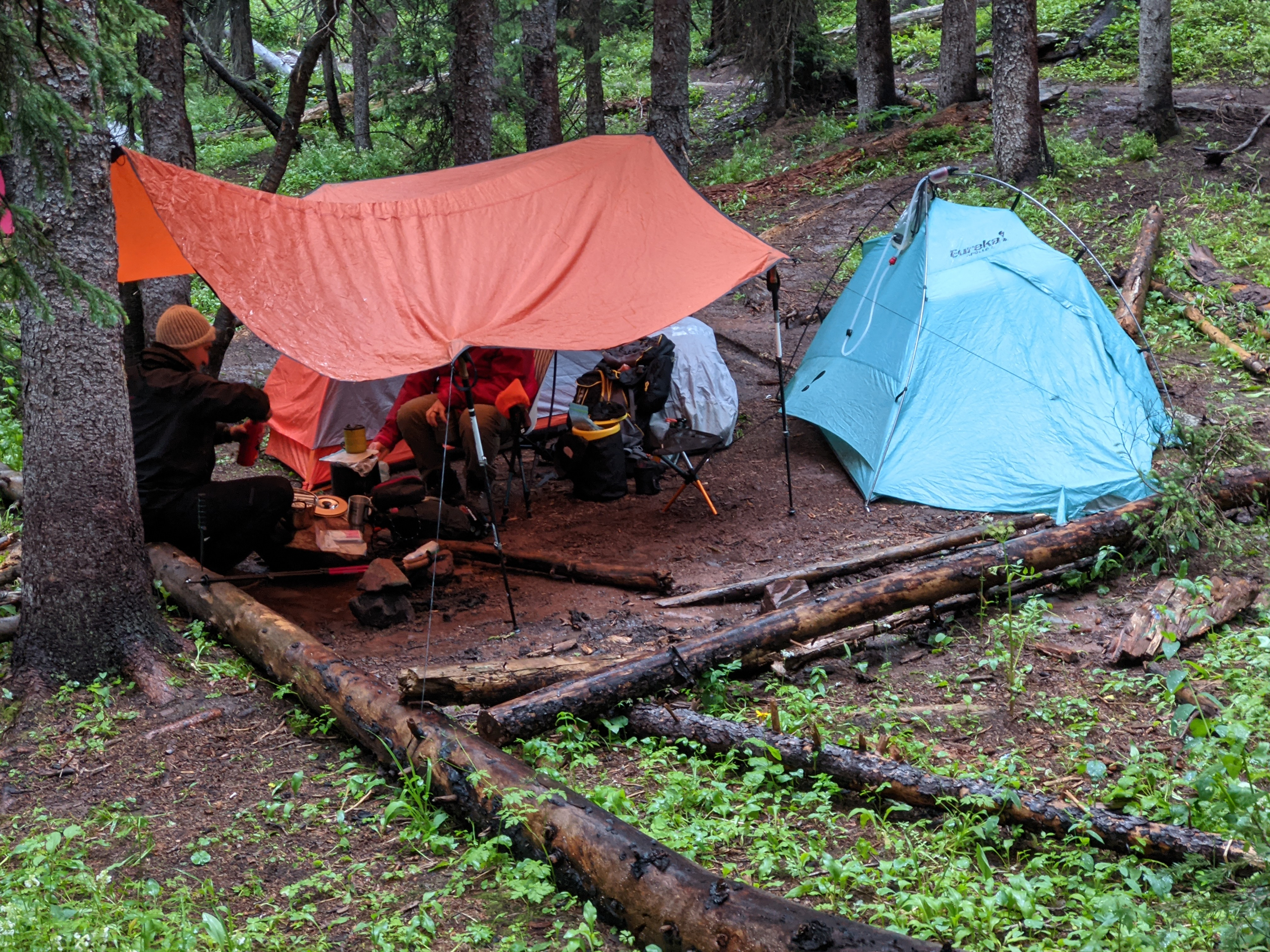A rainy camp site on our Four Pass Loop navigation.