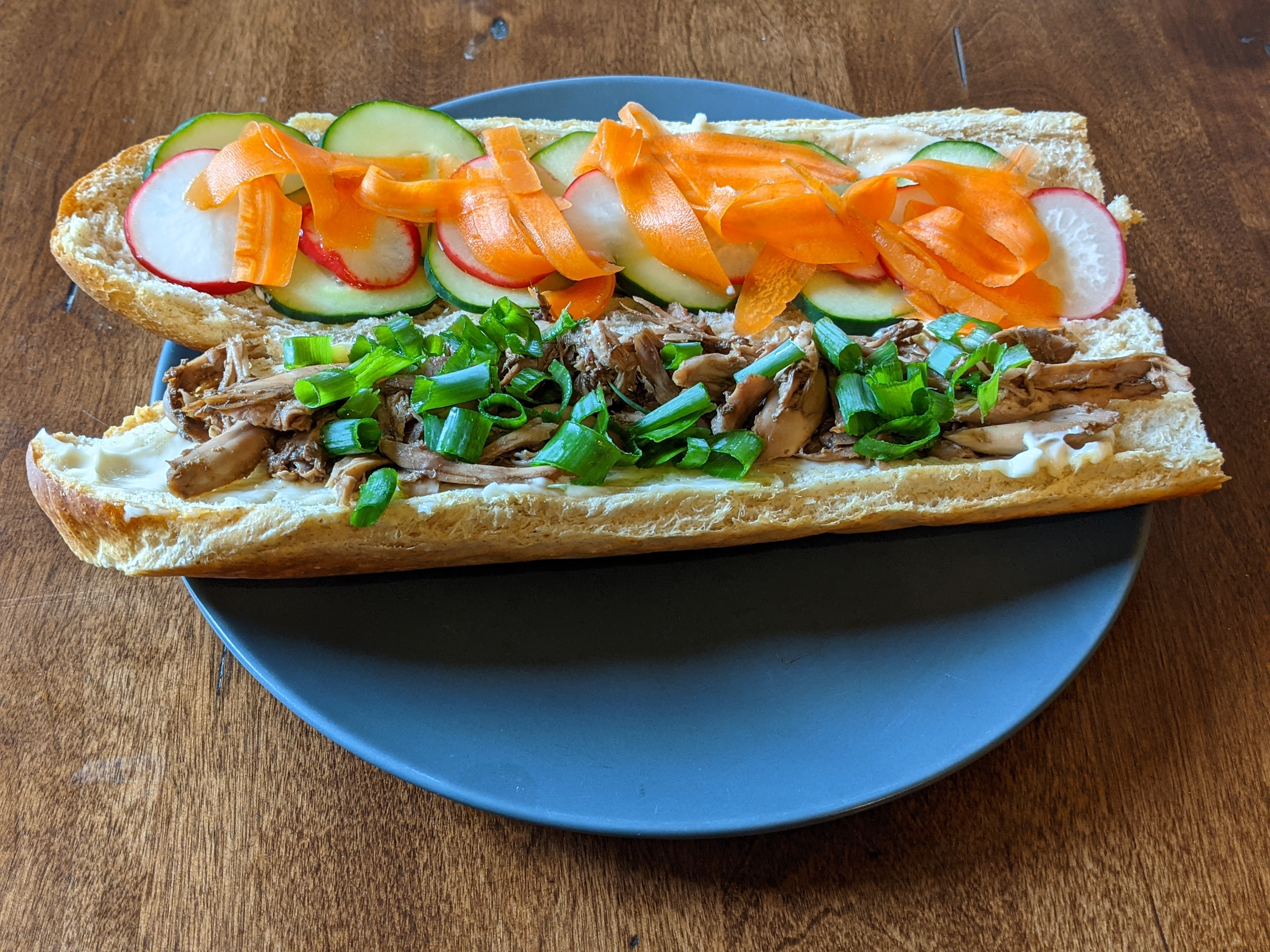 The Squirrel Banh Mi sandwich in it's luxurious final form.